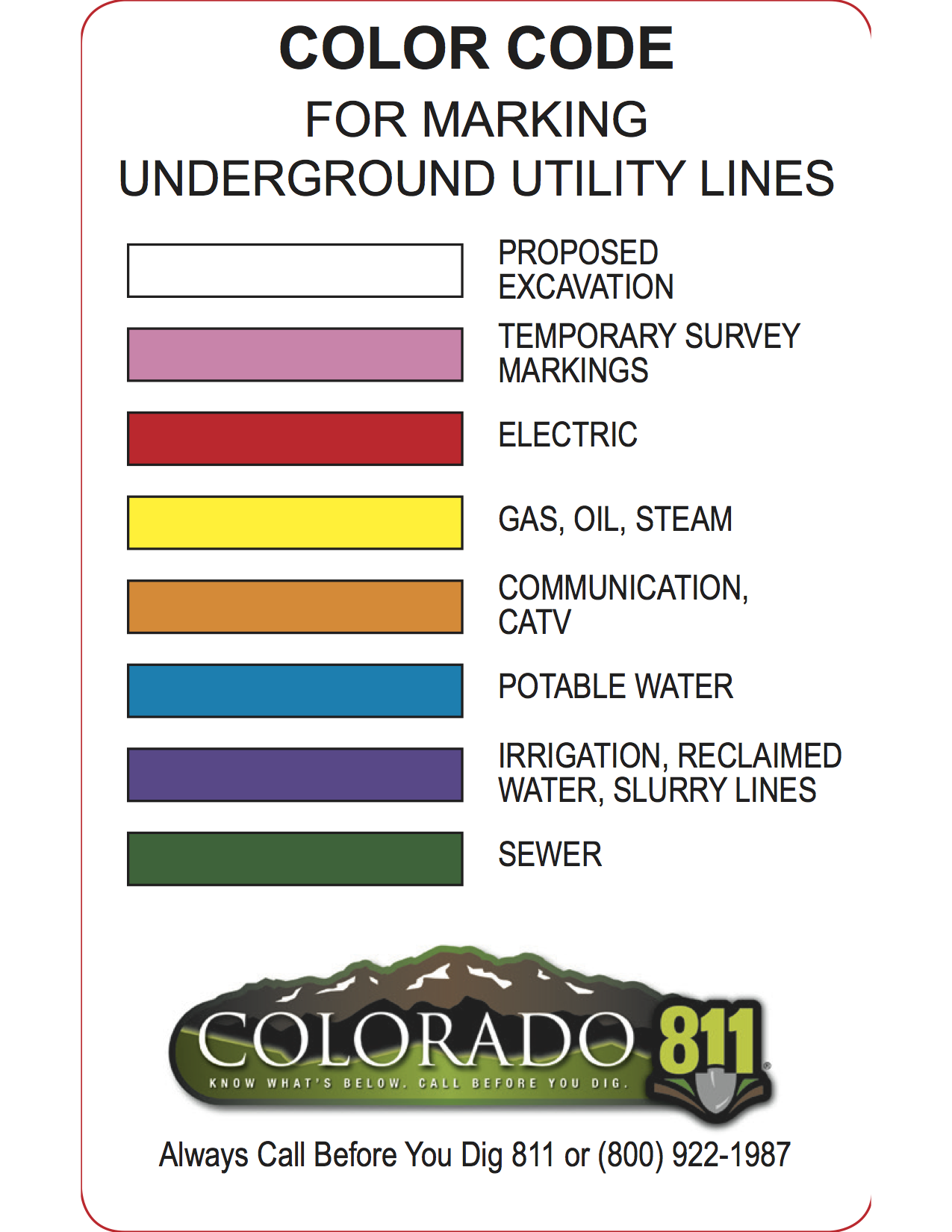 Colorado Utility Locator Call For Local Locating Services Electrical Wiring Usa Colors Ocsi Directory