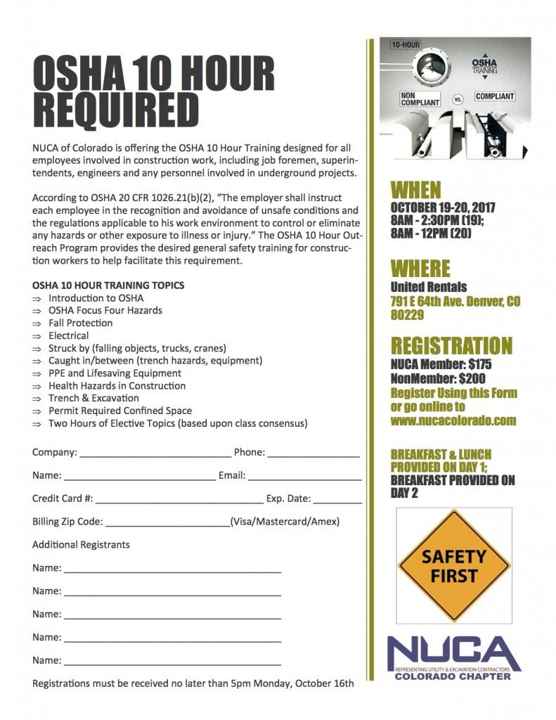 OSHA 10 Hour Flyer