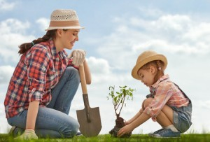 mom and her child plant sapling tree